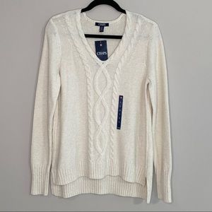 Chaps Off White Rope Sweater NWT